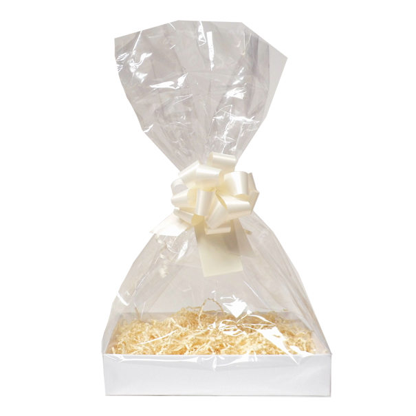 Complete Gift Basket Kit - (Small) WHITE EASY FOLD TRAY/CREAM ACCESSORIES