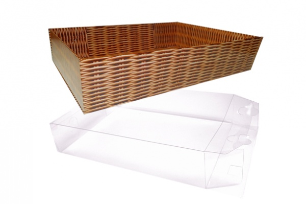 10 x Easy Fold Trays with Acetate Boxes - (30x20x6cm) MEDIUM WICKER TRAYS/CLEAR ACETATE BOXES