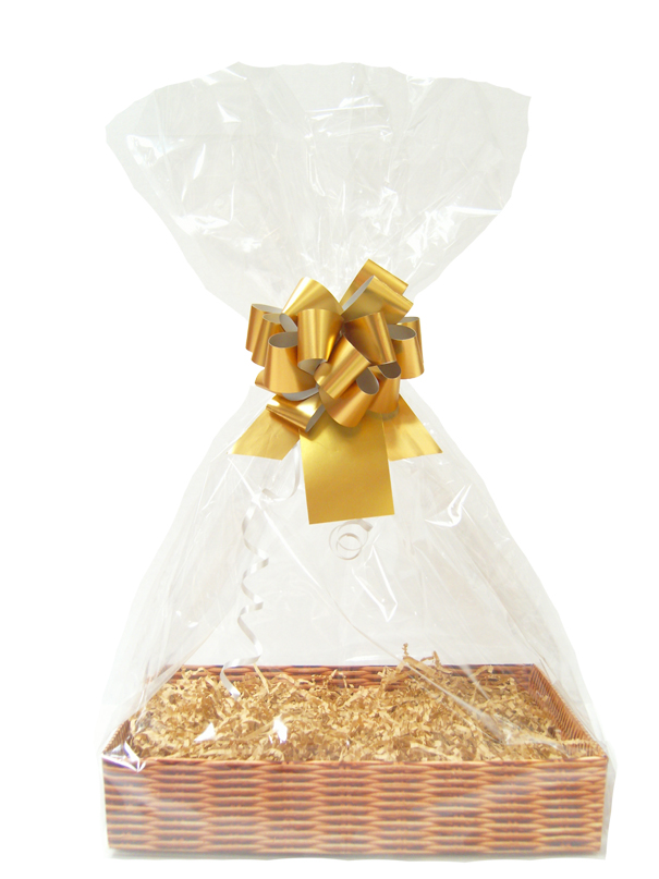 Complete Gift Basket Kit - (Medium) WICKER EASY FOLD TRAY / GOLD ACCESSORIES