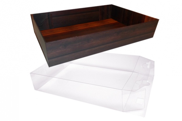 10 x Easy Fold Trays with Acetate Boxes - (30x20x6cm) MEDIUM WOODEN CRATE TRAYS/CLEAR ACETATE BOXES