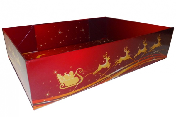 Easy Fold Gift Tray (30x20x6cm) - Medium RED/GOLD REINDEER