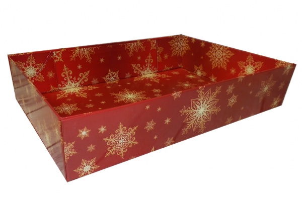 Easy Fold Gift Tray (35x24x8cm) - Large RED/GOLD SNOWFLAKE