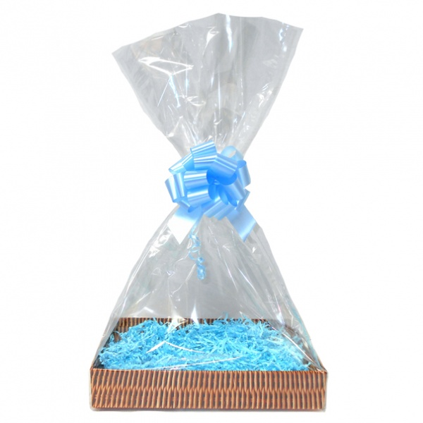 Complete Gift Basket Kit - (Medium) WICKER EASY FOLD TRAY / BLUE ACCESSORIES