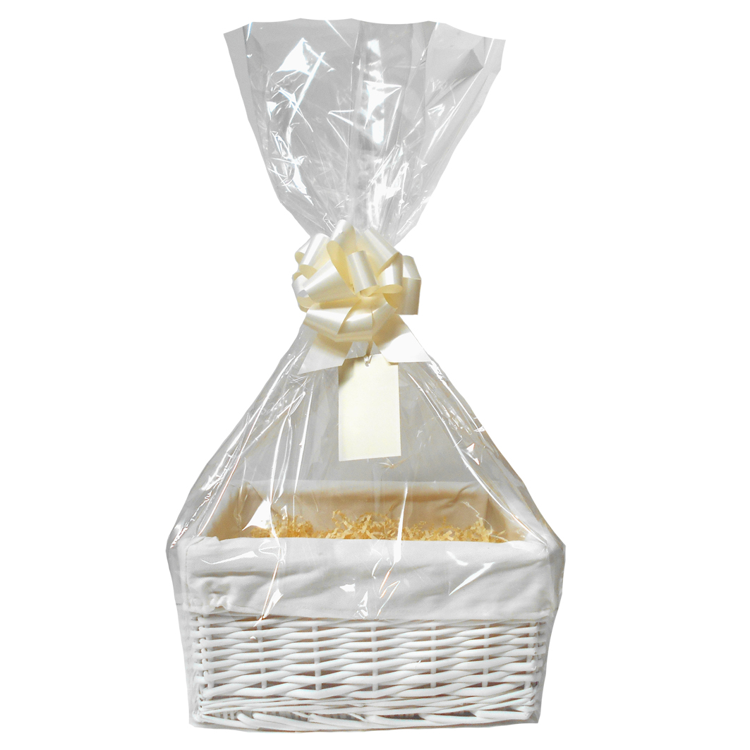 WHITE Wicker Storage Basket with CREAM Lining & CREAM Gift Accessory Kit - 30x22x15cm