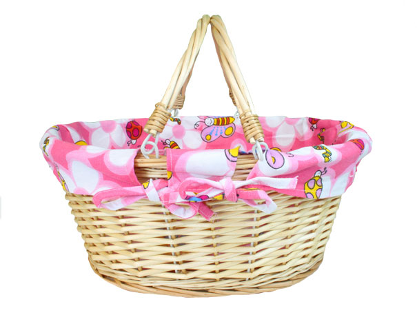 Large Premium SHOPPER in Natural Wicker - PINK Butterflies & Bees Lining - 41x33x18cm