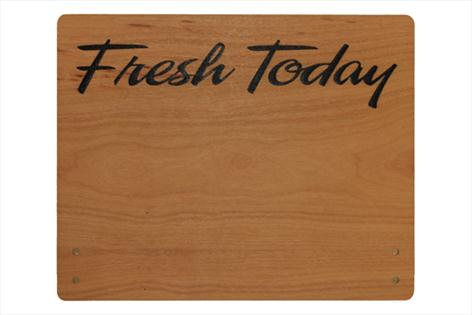 Large Cherry Wood Point of Sale Sign 250mm x 200mm - FRESH TODAY