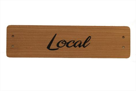 Small Cherry Wood Point of Sale Sign 250mm x 65mm - LOCAL