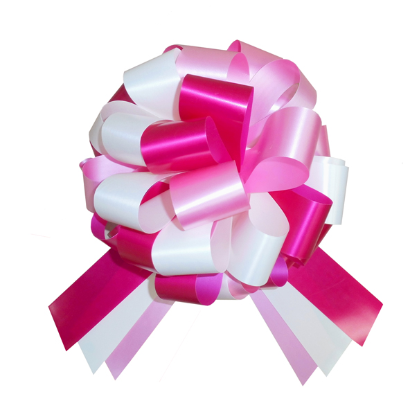 Multi-Colour Bow with 6m matching ribbon - PINK/CREAM/CERISE