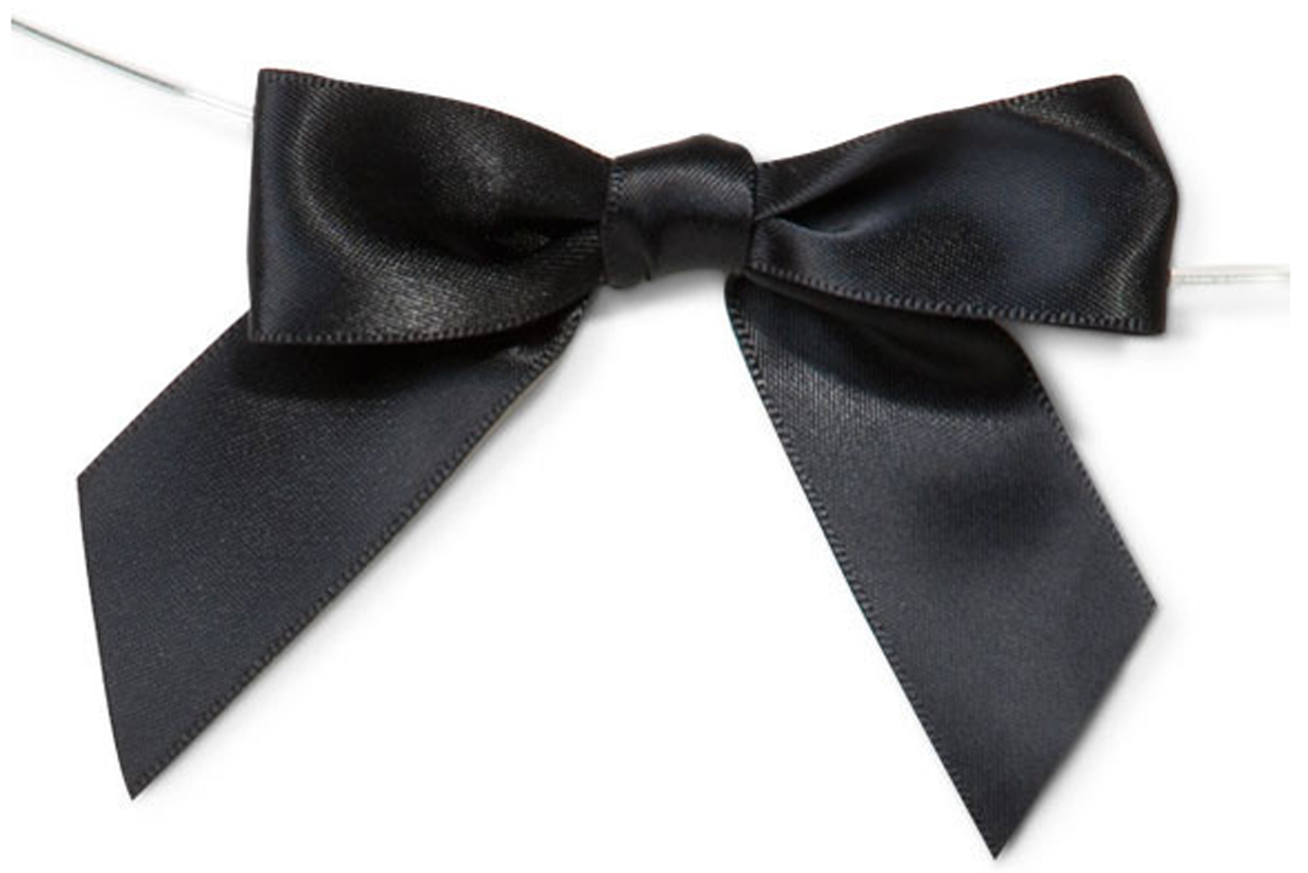MINI SATIN BOWS with Twist Ties - 20mm - (pk 10) BLACK