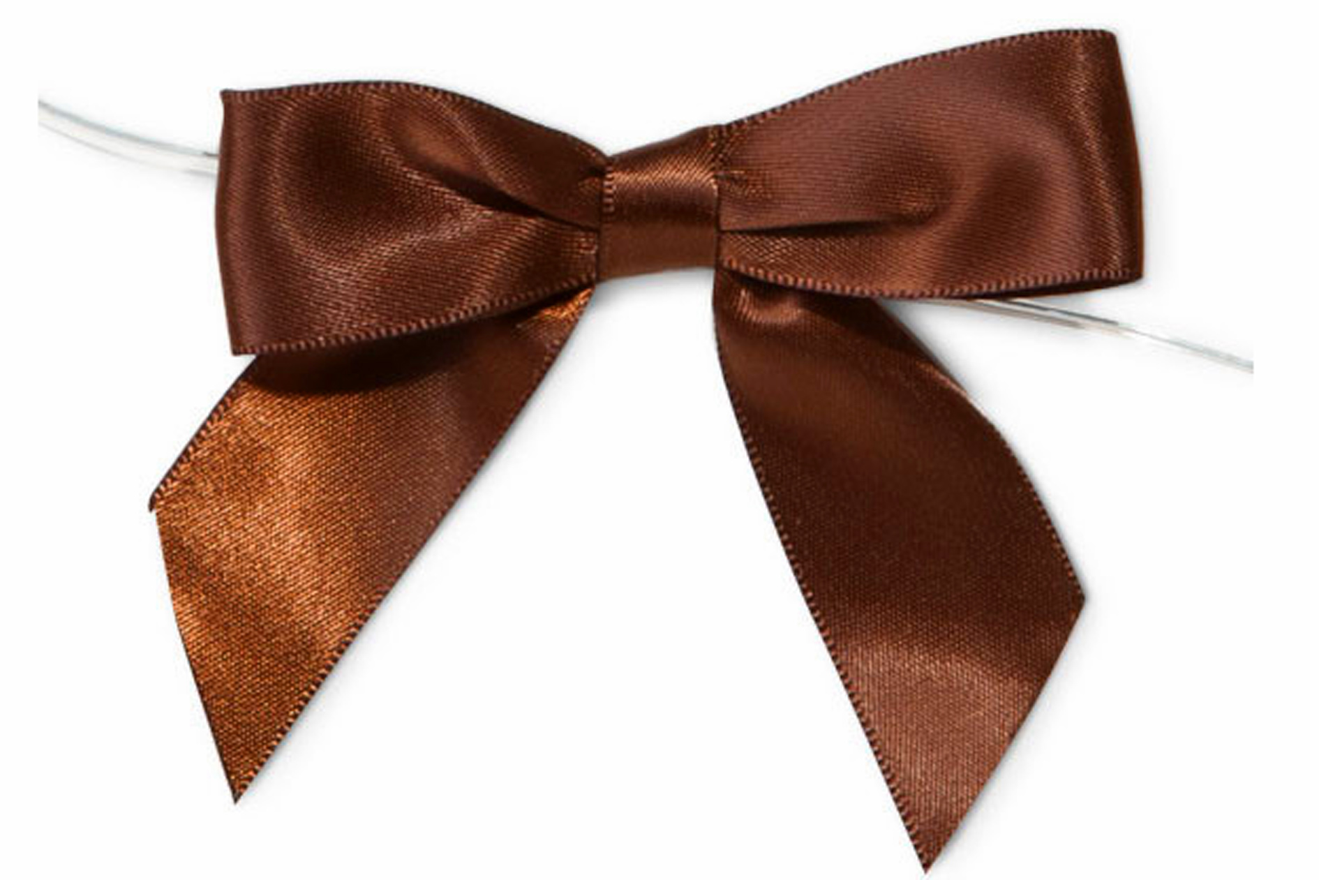 MINI SATIN BOWS with Twist Ties - 20mm - (pk 10) CHOCOLATE BROWN