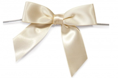MINI SATIN BOWS with Twist Ties - 20mm - (pk 10) CREAM