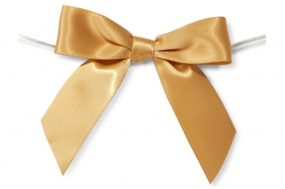 MINI SATIN BOWS with Twist Ties - 20mm - (pk 10) GOLD