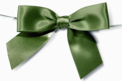 MINI SATIN BOWS with Twist Ties - 20mm - (pk 10) GREEN