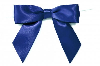 MINI SATIN BOWS with Twist Ties - 20mm - (pk 10) NAVY BLUE