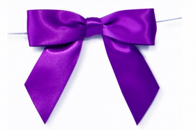 MINI SATIN BOWS with Twist Ties - 20mm - (pk 10) PURPLE