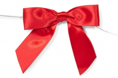 MINI SATIN BOWS with Twist Ties - 20mm - (pk 10) RED