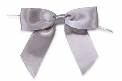 MINI SATIN BOWS with Twist Ties - 20mm - (pk 10) SILVER