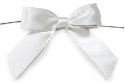 MINI SATIN BOWS with Twist Ties - 20mm - (pk 10) WHITE
